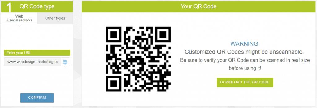 weboldal qr kódja