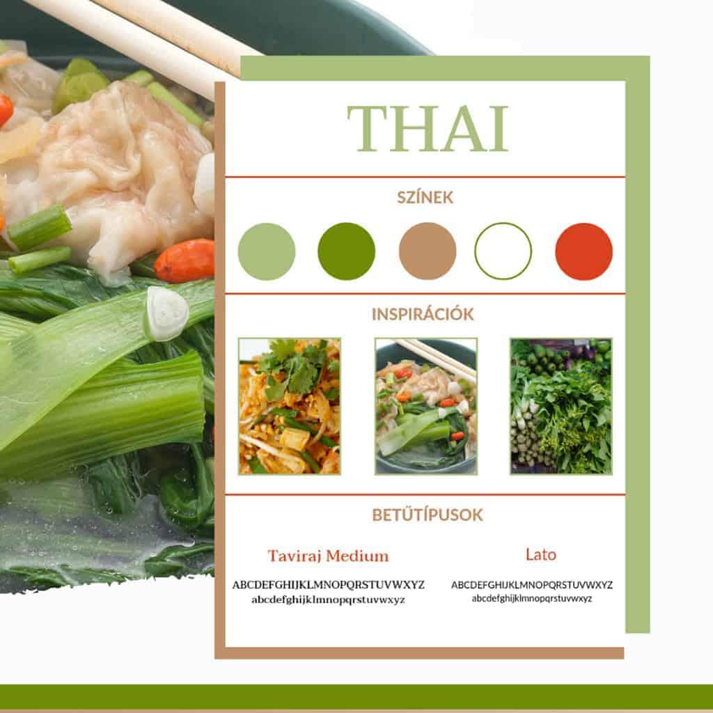 Thai étteremnek készített brand board