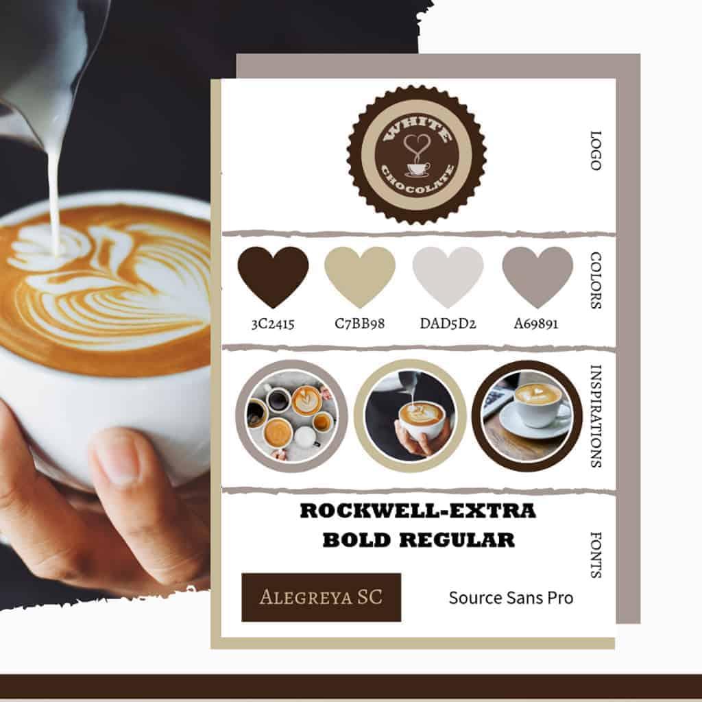 Kávéháznak készített brand board